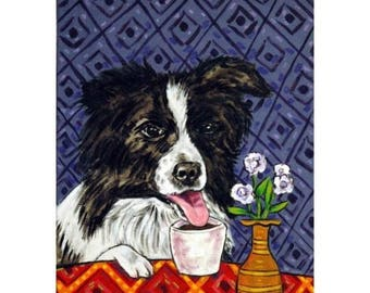 20% off storewide Border Collie at the Coffee Shop Dog Art Print