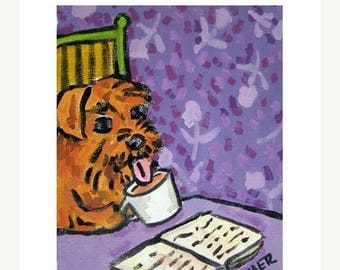 20% off storewide Irish Terrier at the Coffee Shop Dog Art Print