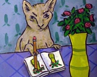 20% off Gray Cat Artist Animal Art Tile Coaster Gift