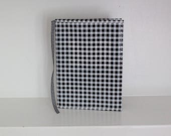 OUTLET black gingham oilcloth cover for composition notebook
