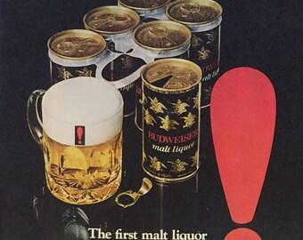vintage BUDWEISER malt liquor ad playboy august 1971