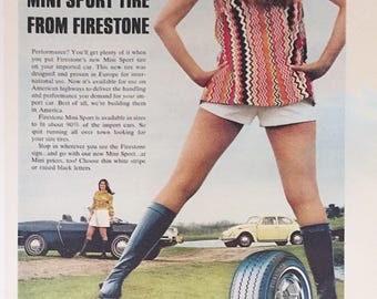 vintage FIRESTONE tire automobile magazine ad playboy august 1971
