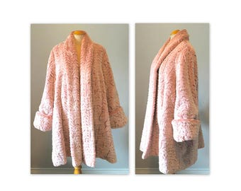 Vintage 80s Faux Fur Swing Coat OS Textured Dusty Rose by Bryan Emerson
