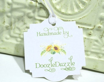 Handmade Tags -  Set of 20 - Personalized - Store tags - Sunflowers - Handmade by - Hang tags