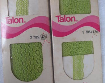 Two Lime Stretch Lace Seam Tape Each 3 Yards Long for Sewing, Art, and Craft