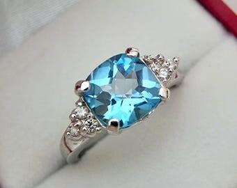 AAAA Swiss Blue Topaz 14K White gold diamond ring  9x9mm  3.65 Carats   (.20ct)  0681
