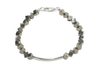 Bohemian silver bar and pyrite beaded stackable bracelet