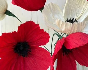 Crepe Paper Flower - Set of 3 Icelandic Poppies - Handmade