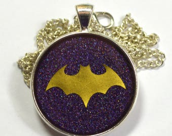 Batgirl Logo Geeky Gold Purple Resin Pendant