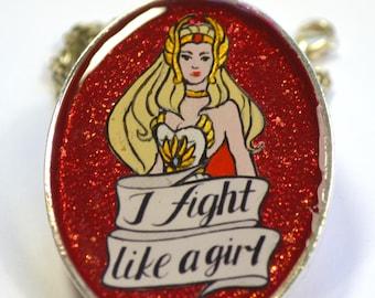 She-Ra Princess of Power 80s Retro Feminist Geeky Portrait Pendant