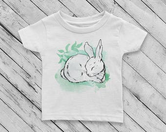 Sleeping Bunny Rabbit #4 Watercolor Baby Girl or Boy 100% Cotton Jersey T-shirt