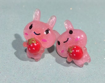 Kawaii Bunny With Strawberry Stud Earrings, 2 colors
