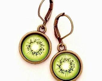 Kiwi Glass Photo Earrings  Nickel Safe