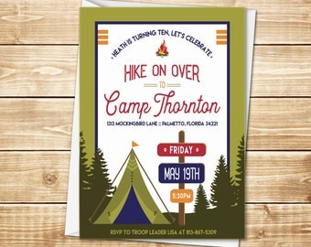 PRINTED Camping 5x7 Birthday Invitation with envelope in green, blue, red with tent, campfire, and directional sign