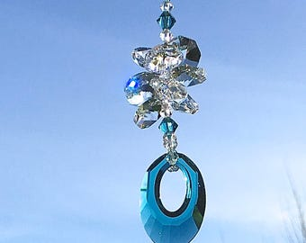 Turquoise Blue Crystal Sun Catcher, Swarovski Crystals, Window Crystals, Glass Ornament, Window Prisms, Hanging Crystals, Home Decor, 8883