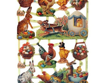 Germany Paper Scraps Lithographed  Die Cut Victorian Easter  7222