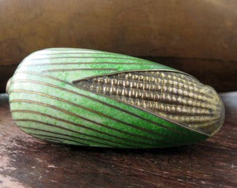 Vintage Cloisonne Corn Cob trinket box pill box small enamel covered dish