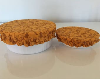 Brown Flower Reusable Eco-Friendly Fabric Picnic Food Bowl Covers Lids (Set of 2)