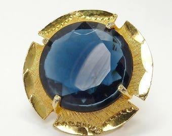 Vintage Blue Faceted Crystal Dome Brooch