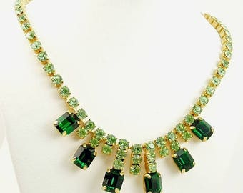 Vintage Two Color Green Rhinestone Necklace