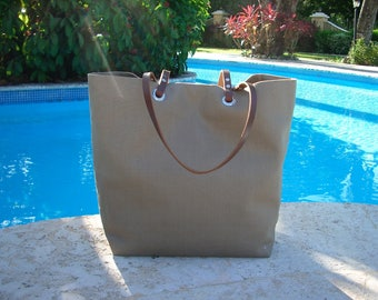 Linen Tote Bag, Beach Bag, Taupe Tote, Lightweight Summer Tote Bag
