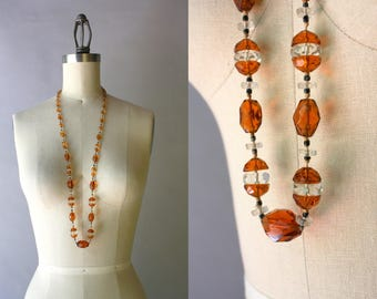 1920s Necklace / Vintage 20s Beaded Flapper Necklace / Antique 1920s Faceted Amber Glass Knotted Beaded Long Necklace
