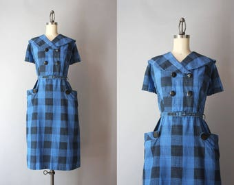 1950s Dress / Vintage 50s 60s Oversized Checks Cotton Dress / 50s Shawl Collar Fitted Day Dress with Pockets L large