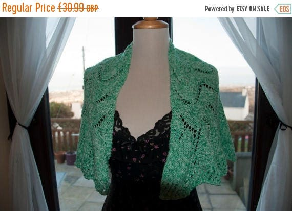 Christmas In July Handknitted Shawl/Shawlette in Shades of Green