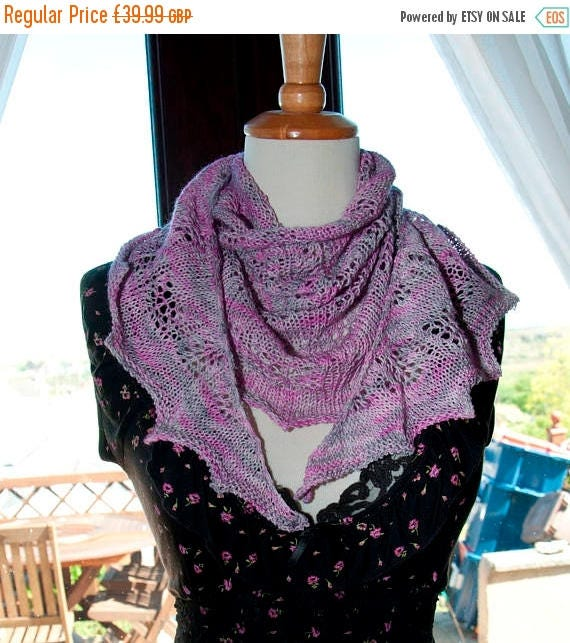 Christmas In July Handknitted Semi Circle Shawl in Hand-dyed Yarn in Pink and Grey