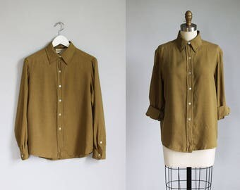vintage army green SILK long sleeve shirt / s