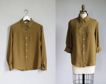 vintage army green SILK long sleeve shirt / s