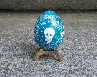 Blue Happy Skeleton guinea egg pysanka