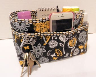 "Purse Organizer Insert/Enclosed Bottom  4"" Depth/ Black, White, and Yellow"
