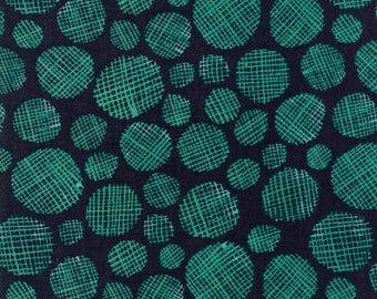 Midnight Garden Fabric // Black with Teal Gridded Dots Quilting Fabric  // 1canoe2 // cotton quilting