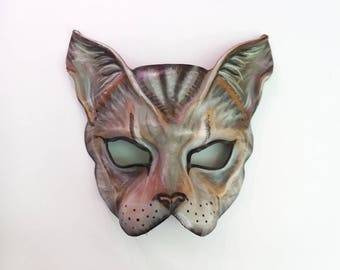 Cat Leather Mask  house cat grey brown black mix Tabby Cat kitty animal costume ONE of A KIND