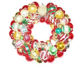 Ornament Wreath, Vintage Ornament Wreath, Gold Ornament Wreath, Christmas Wreath, Ornaments Wreath, Vintage Ornaments Wreath
