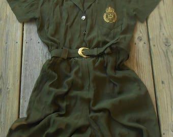 Vtg 80s Minimalist ARMY Menswear Epaulet Emblem Insignia Grunge Boho Military Tomboy Menswear Utility Dress Jumper Romper Jumpsuit Shorts