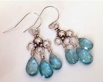 20% off FLASH SALE, Apatite and Sterling Trio Chandelier Earrings, gemstone earrings, natural apatite, bright blue earrings