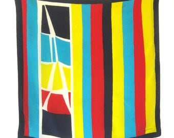 Vintage SALDARINI Silk Scarf Italy / Stripes in Red, Cyan, Navy, Red and Yellow / Geometric Print / Rolled Hem / Square Scarf / 30 Inches