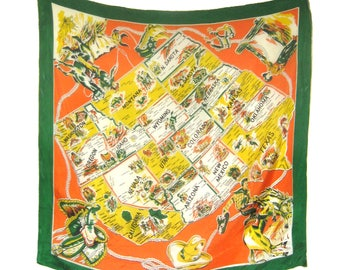Vintage Rayon Western Scarf / Map of Western States Travel Souvenir / Americana / Cowboy Rodeo Saddles Spurs   / California Texas / Giddy Up