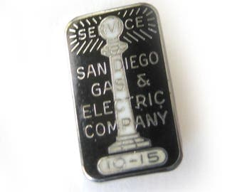 Vintage Sterling Silver San Diego Gas and Electric Enamel Lapel Pin / Service Pin / Black and Silver Enamel