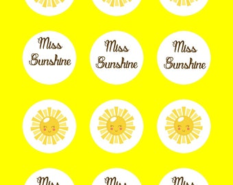 Miss Sunshine Stickers,Sunshine Labels,  DIY Printable File, INSTANT DOWNLOAD
