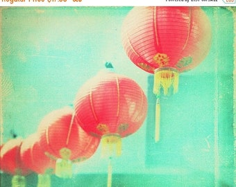 SALE LA photography, Chinatown photograph, red paper lanterns, Los Angeles chinese lanterns mint green blue, Chinese New Year decor