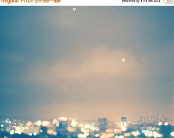 SALE Hollywood at night, LA photography, cityscape, landscape, downtown skyline, Capitol Records, blue, sparkly bokeh print