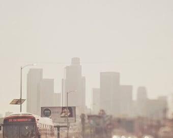 SALE downtown Los Angeles photograph, LA skyline, DTLA photo, metro bus, urban decor,  gray orange, loft wall art, buildings, cityscape