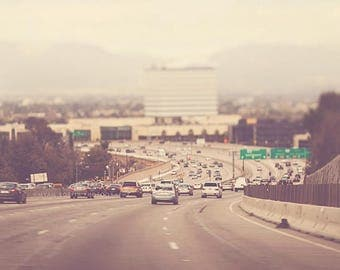 LA freeway photograph, the 405 Los Angeles, landscape, travel, winter day, neutral tones, urban decor