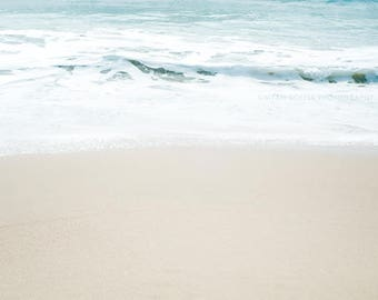 beach photography, pale seascape, winter in Malibu photograph, tranquil wave, peppermint blue snow white soft beige, minimalist art print