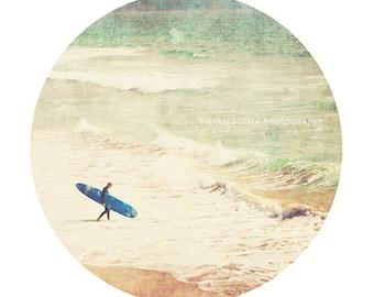 surfer photograph, modern decor, beach photo, blue green teal seafoam green, dorm decor, California travel geometric art