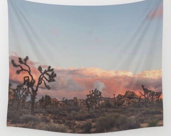 Joshua Tree photograph, sunset photo, wall tapestry, boho decor, desert wall art, California print, baby nursery, girls room, office, loft