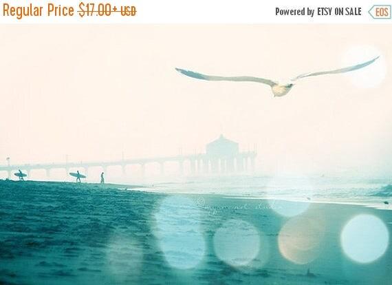 SALE California photography, Manhattan Beach surfers photograph, dreamy seaside seagull, blue teal aqua large beach wall decor